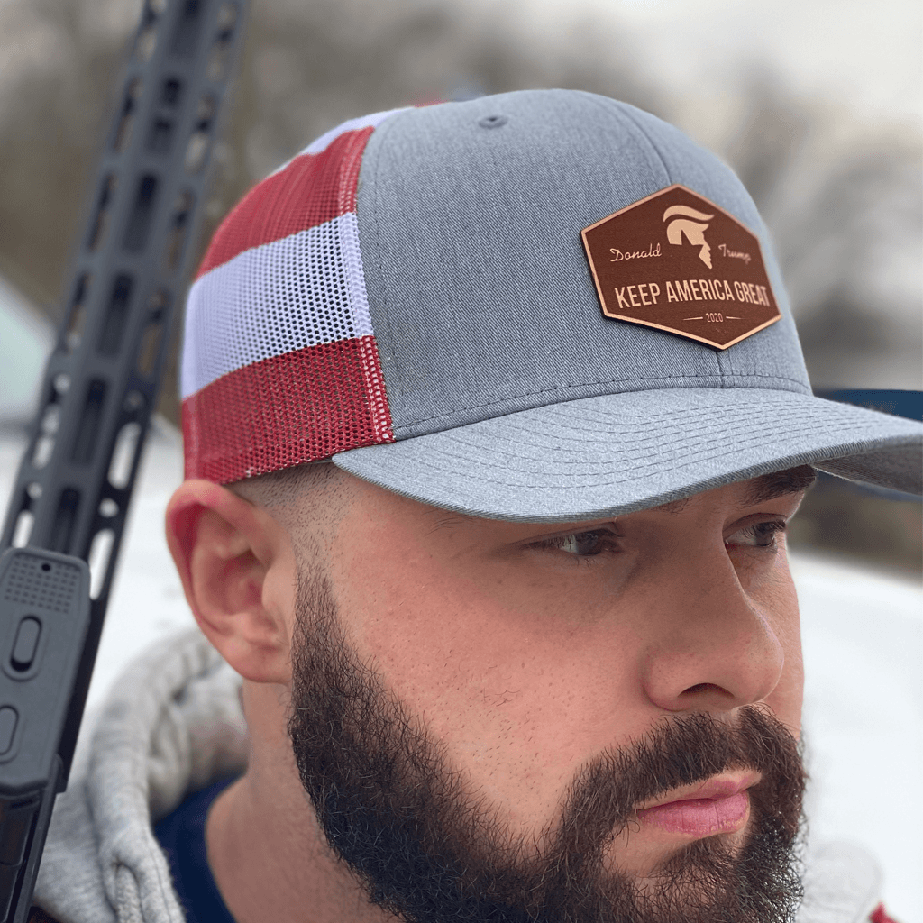 Keep America Great Black Leather Patch Hat