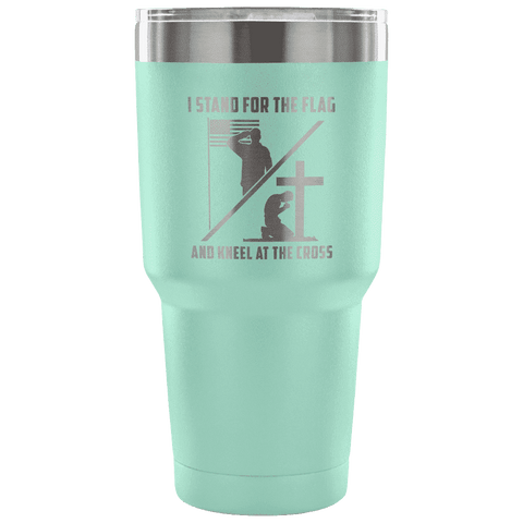 Image of I Stand for the Flag and Kneel at the Cross Tumbler Tumblers teelaunch Teal