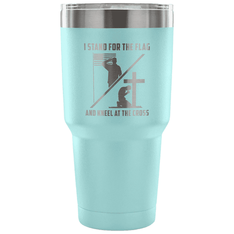 Image of I Stand for the Flag and Kneel at the Cross Tumbler Tumblers teelaunch Light Blue