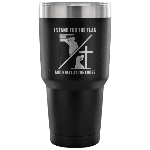 Image of I Stand for the Flag and Kneel at the Cross Tumbler Tumblers teelaunch Black