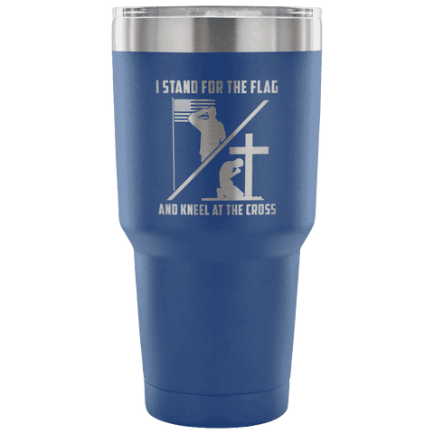Image of I Stand for the Flag and Kneel at the Cross Tumbler Tumblers teelaunch Blue