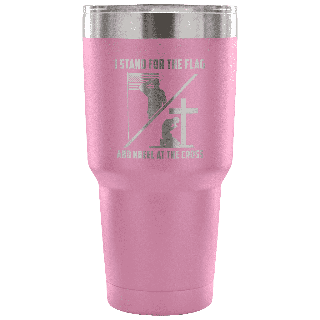 I Stand for the Flag and Kneel at the Cross Tumbler Tumblers teelaunch Light Purple
