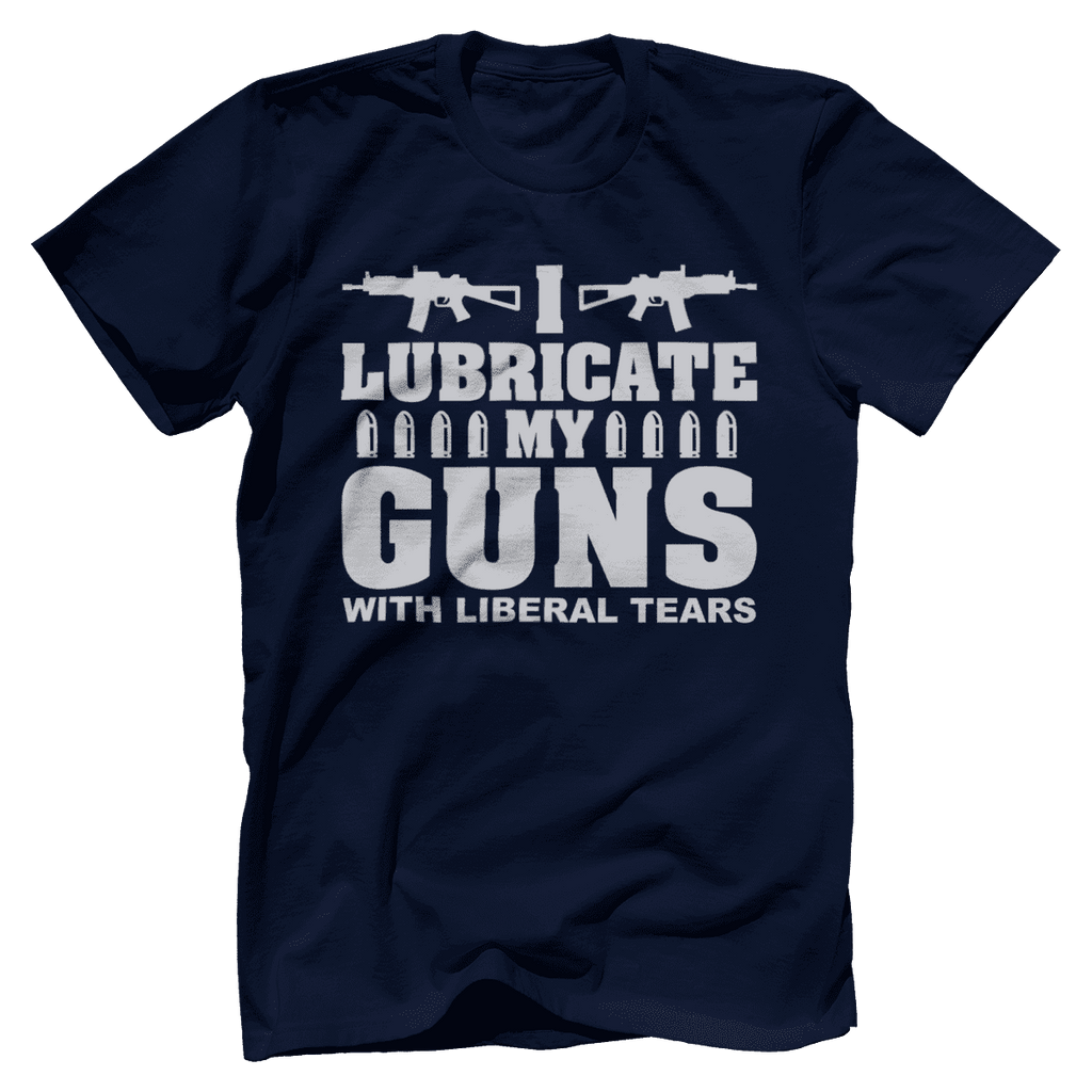 I Lubricate My Guns With Liberal Tears Print Brains Bella + Canvas Cotton Crew Navy S