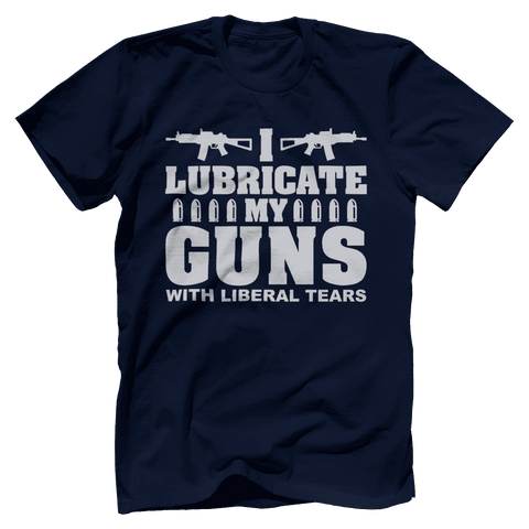 Image of I Lubricate My Guns With Liberal Tears Print Brains Bella + Canvas Cotton Crew Navy S