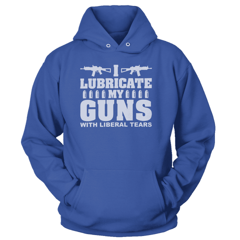 Image of I Lubricate My Guns With Liberal Tears Print Brains Premium Hoodies Royal Blue S