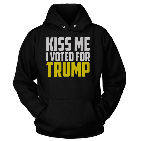 Image of Kiss Me I Voted for Trump Print Brains Premium Hoodies Black S