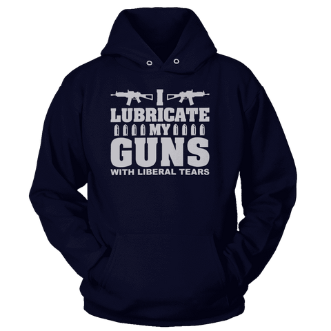 Image of I Lubricate My Guns With Liberal Tears Print Brains Premium Hoodies Navy S