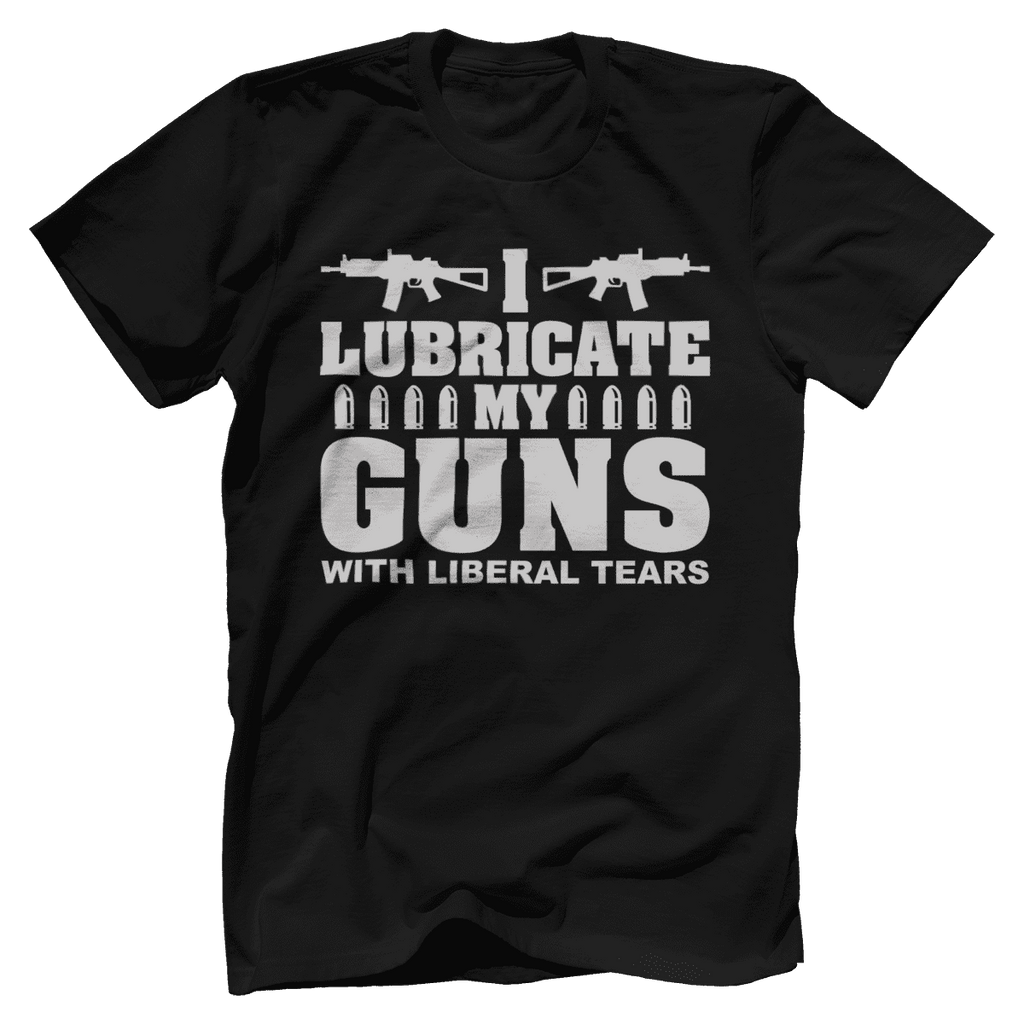 I Lubricate My Guns With Liberal Tears Print Brains Bella + Canvas Cotton Crew Black S