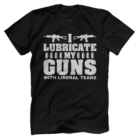 Image of I Lubricate My Guns With Liberal Tears Print Brains Bella + Canvas Cotton Crew Black S