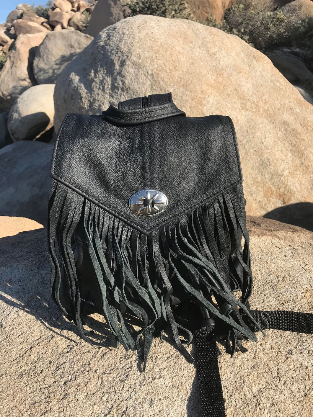 Leather Fringe Concho Backpack