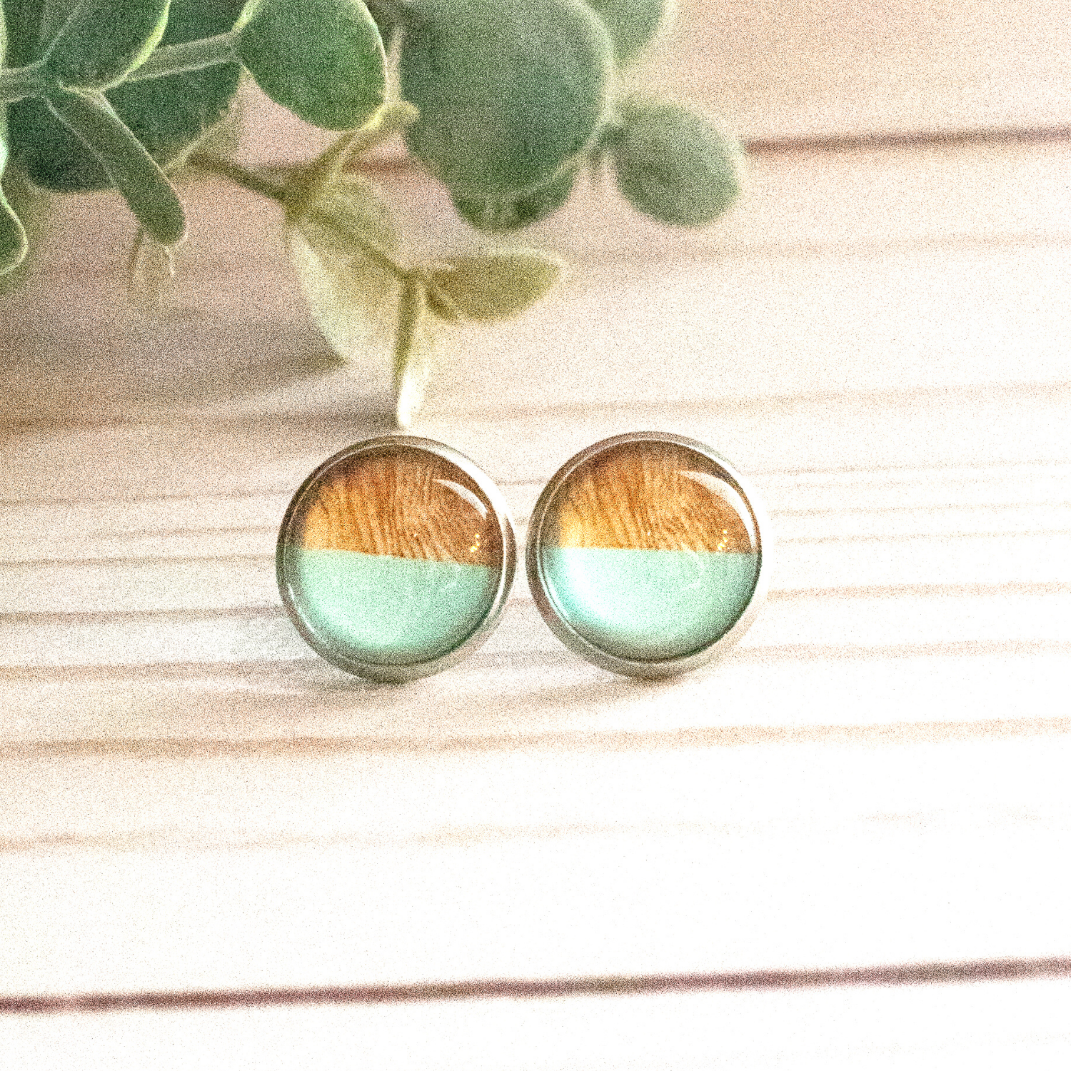AQUA & WOOD EARRINGS