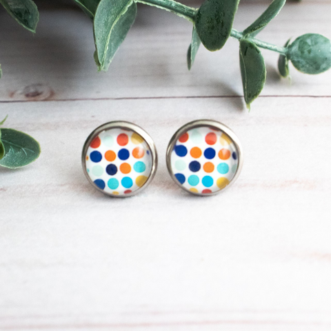 COLORFUL POLKA DOT EARRINGS