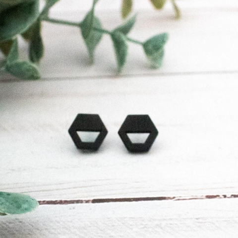 BLACK WOOD STUD EARRINGS