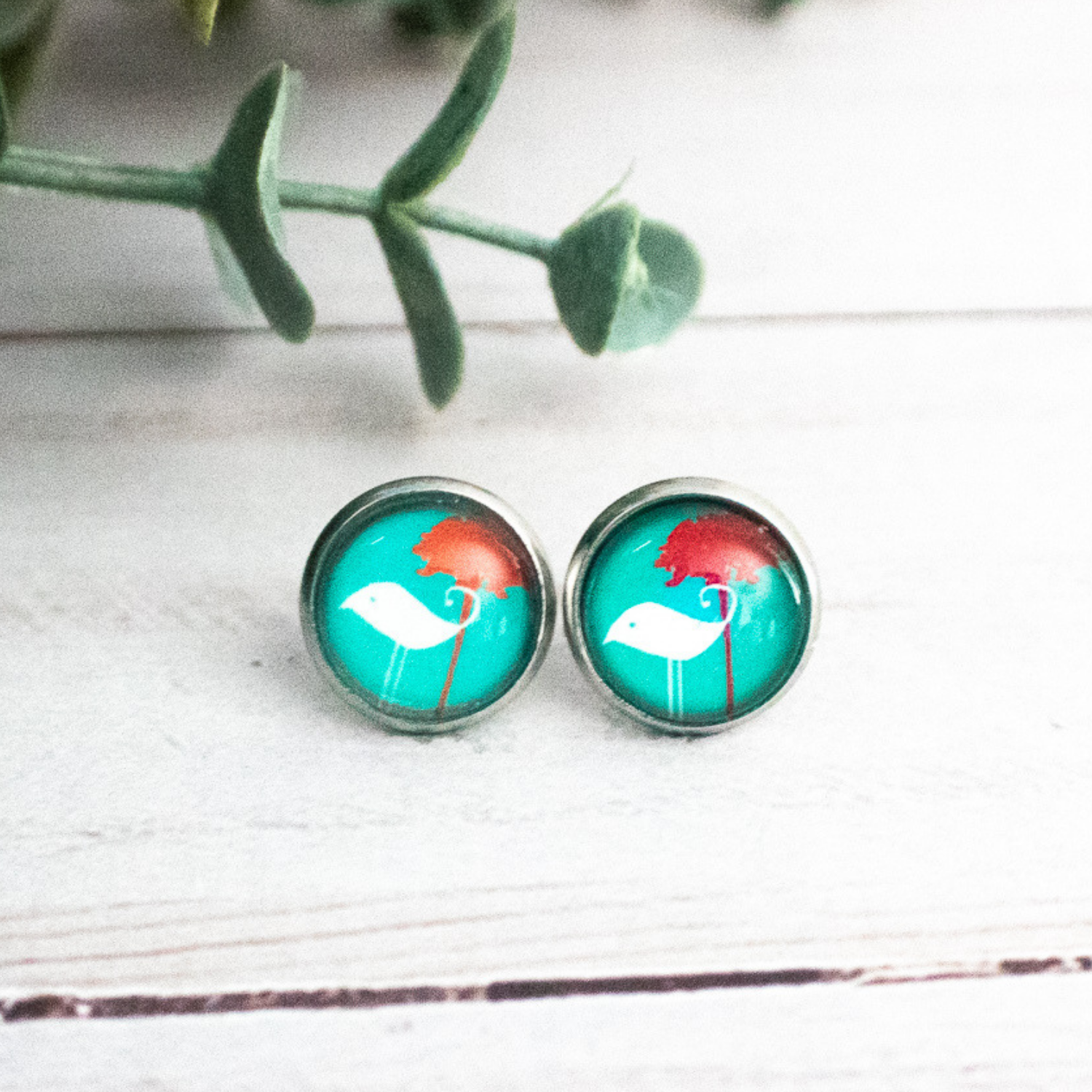 AQUA BIRD EARRINGS