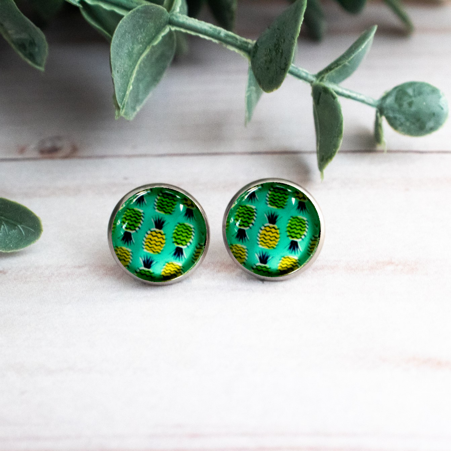 AQUA PINEAPPLE EARRINGS