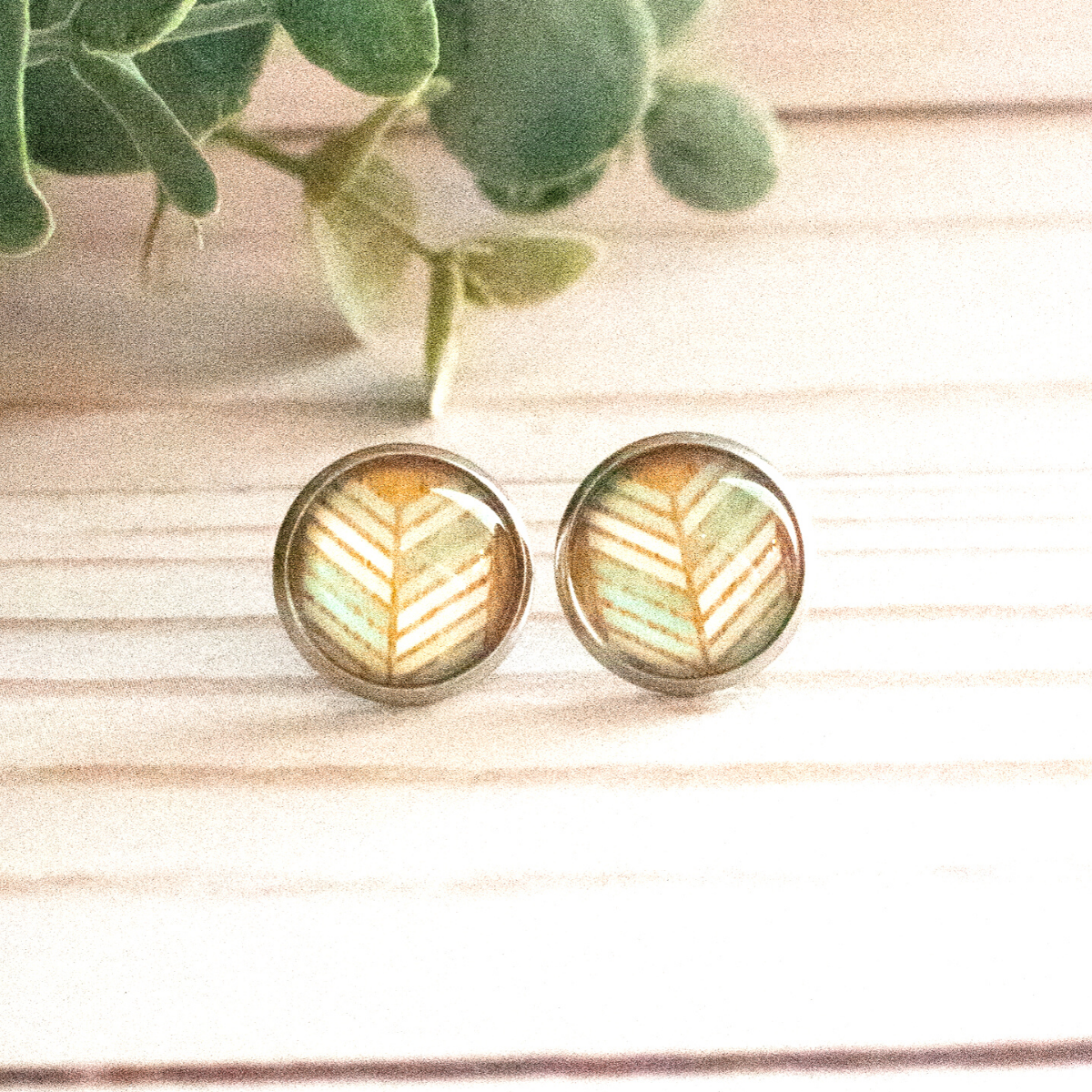 AQUA & WOOD HERRINGBONE EARRINGS