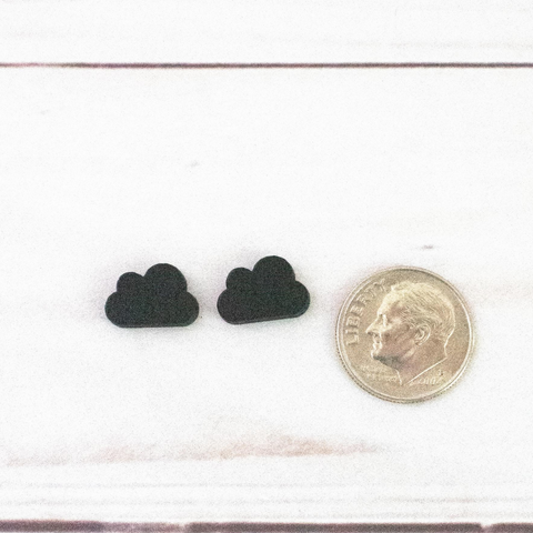 BLACK WOOD CLOUD STUD EARRINGS