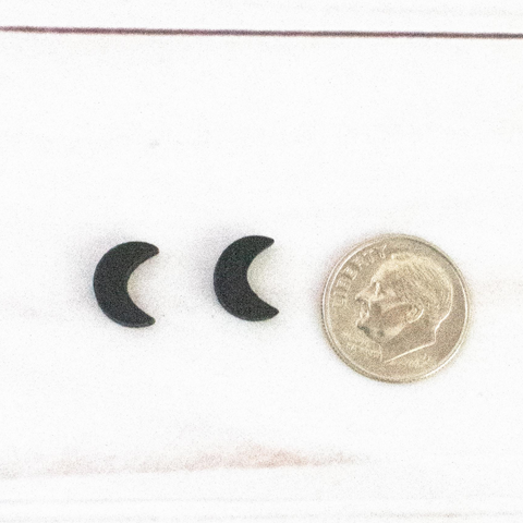 BLACK MOON WOOD STUD EARRINGS