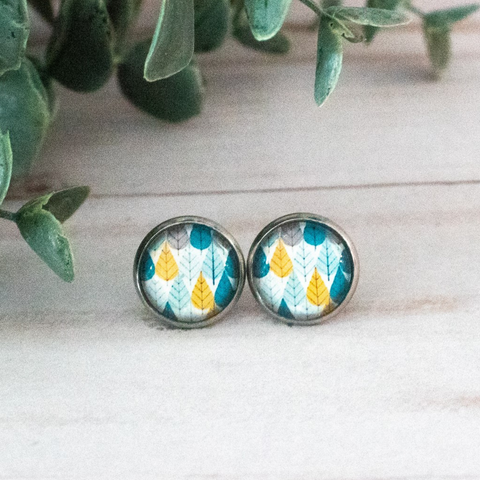 BLUE & YELLOW LEAVES EARRINGS