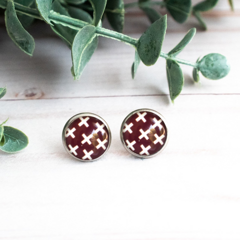 MAROON & WHITE X's EARRINGS