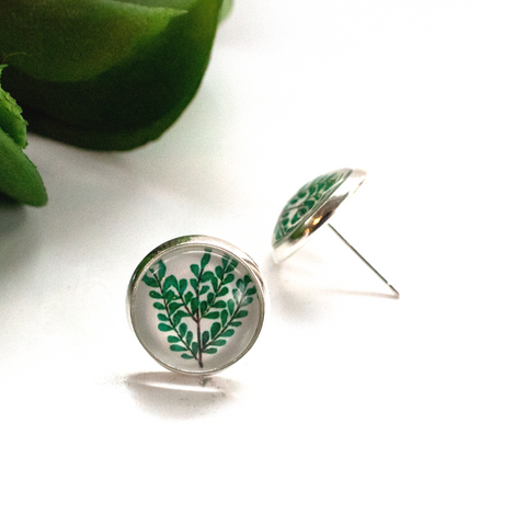 EUCALYPTUS GLASS EARRINGS