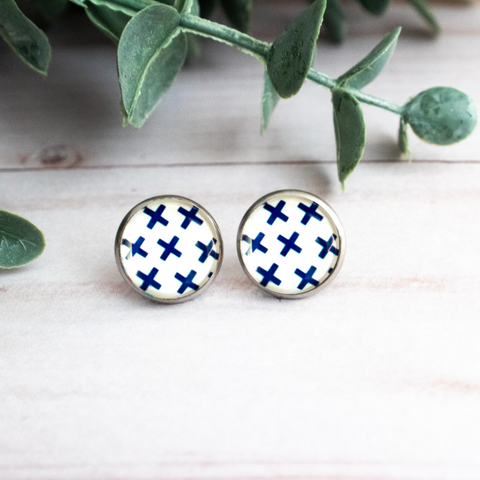 BLUE AND WHITE Xs EARRINGS