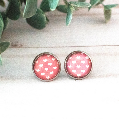 PINK & WHITE HEARTS EARRINGS