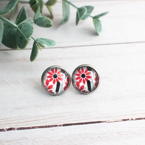RED & BLACK FLOWERS EARRINGS