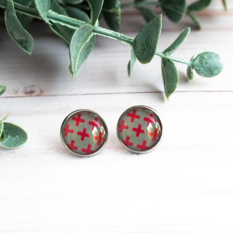 GRAY & RED X's EARRINGS