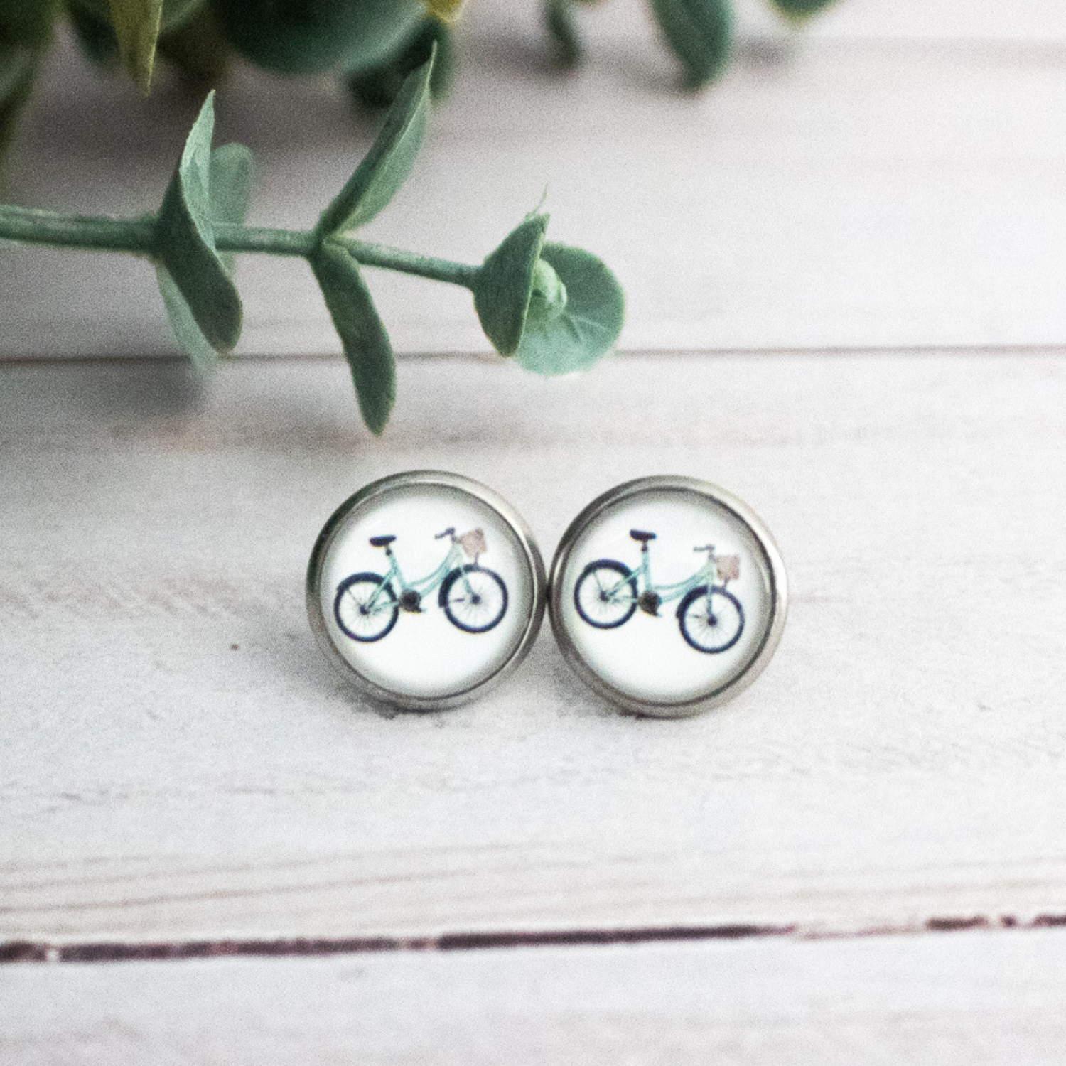 TURQUOISE BIKE EARRINGS