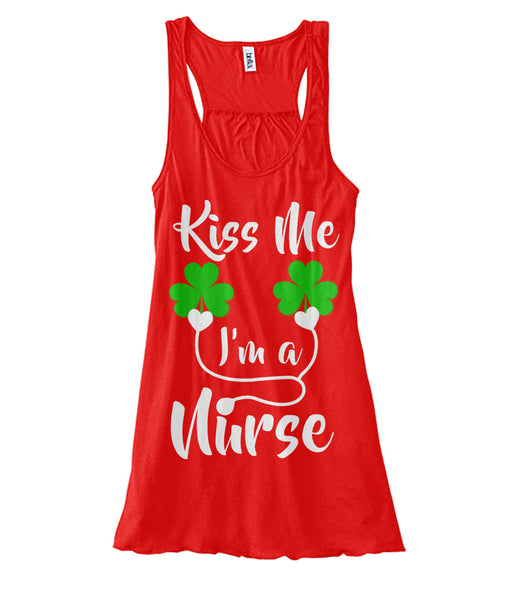 Kiss Me I Am A Nurse St Patricks Day Women's Flowy Tank