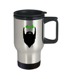 St Patricks Day Gifts Eyes Shamrock Beard Travel Mug Funny Gift for Him Husband Dad Grandpa Uncle Boyfriend St. Patty's Day Shamrock
