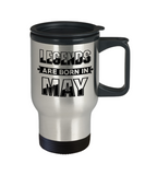 May Birthday Mug, Legends Are Born In May Travel Mug Stainless Steel 14 Oz