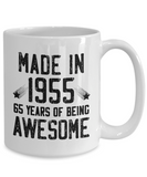 Made in 1955 Birthday, 65 Years of Being Awesome, 65th Birthday Coffee Mug