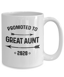 New Aunt 2020 Mug, Promoted to Great Aunt Est 2020 Grandparents Coffee Mug