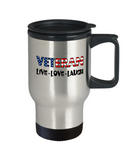 Veteran U.S. Flag Pride Mug Gift, Live Love Laugh Travel Mug Stainless Steel 14 Oz