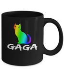 Proud Gaga Cat Rainbow Mug LGBT Pride Gift Ideas Funny Coffee Mug Black Color 11oz, 15oz