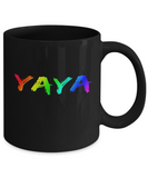 Proud Yaya Rainbow Mug LGBT Pride Gift Ideas Funny Coffee Mug Black Color 11oz, 15oz