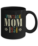 Vintage Mom 1954 Mug, 65 Years Old Birthday, 65th Anniversary Celebration Gift for Her, Mother's Day Idea
