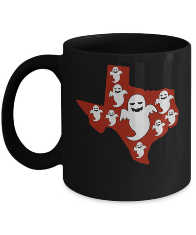Halloween Ghost Costumes Texas Map Funny Coffee Mug Black Color 11oz, 15oz
