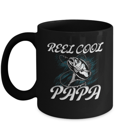Cool Fishing Papa Mugs Funny Fishing Gift for Fisherman Papa Coffee Mugs Black Color