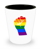 Stand Up LGBT Pride Rainbow Funny Shot Glass For Men and Women