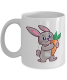 Happy Rabbit Art Coffee Mug Tea Cup White Color Gift for Men and Women