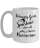 February Birthday Perfect Gifts February Girls Are Sunshine Mixed With A Little Hurricane Coffee Mug Tea Mug 11oz. 15 oz.