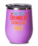 The Best Drummers Are Born in May Wine Glass, Vintage Drummer Birthday Gift