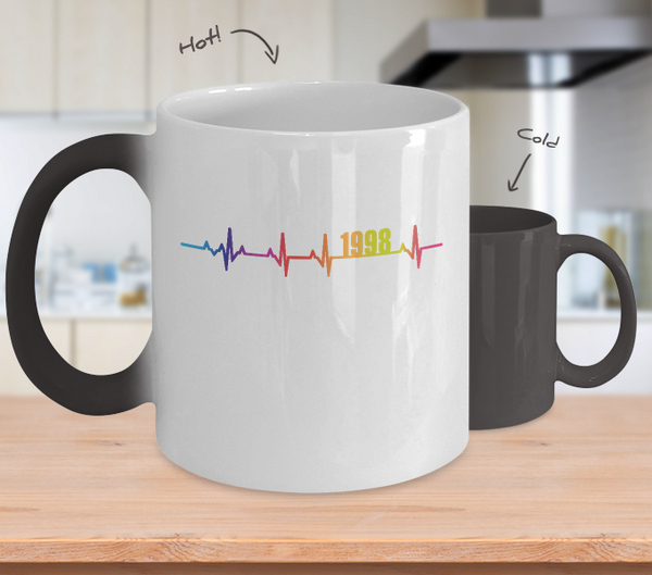 20th Birthday Gift 1998 Heartbeat Color Changing Mug for Men Women