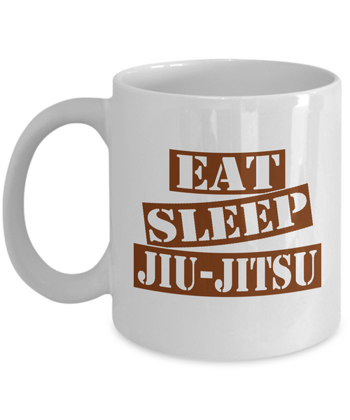 Funny Jiu-Jitsu Mug- Eat Sleep Jiu Jitsu Coffee Mug Gift Ideas White Color 11oz, 15oz