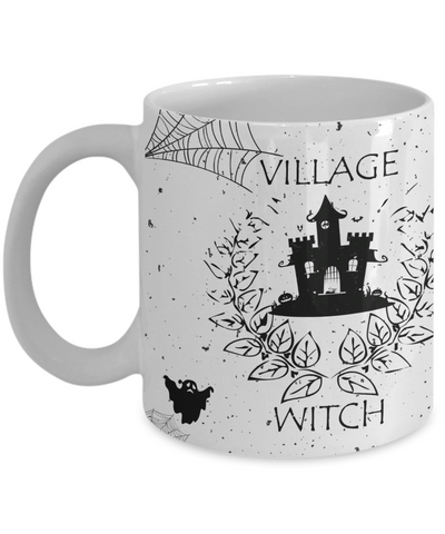 Village Witch Mug, Halloween Ceramic Full Wrap Coffee Mug White Color