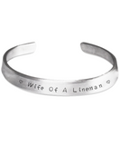 Wife Of A Lineman Stamped Bracelet