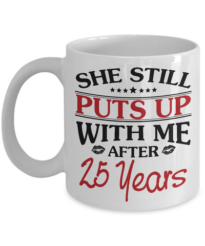 25th Anniversary Gifts for Men, Funny 25th Anniversary Mug for Him, 25 Years Wedding Anniversary Coffee Mug